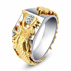 Luxury Gold Drago Men Ring 18k Gold Plating Diamond Rings For Men
