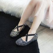 Filles Bling paillettes Vamp élastique Bande princesse brillante danse chaussures plates