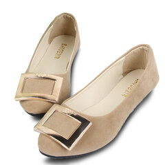 Big Size Metal Buckle Pure Color Slip On Flat Shoes