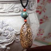 العرقية اليدوية بودي قلادة طويلة-- نمط ستون البلوز قلادة للنساء الرجال