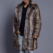 Мужская Тонкий Fit плащ из искусственного меха средней длины зима теплая повседневная куртка
