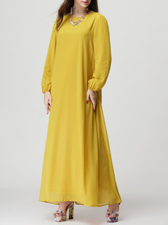 Elegant Women Pure Color Chiffon Long Sleeve Maxi Dresses With Belt