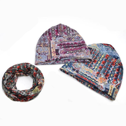 Women Flowers Printted Beanie Hat Outdoor Riding Plus Cashmere Windproof Cap Scarf Dual use