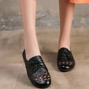 Women Geniune Leather Lace Up Slip Resistant Casual Flat Shoes