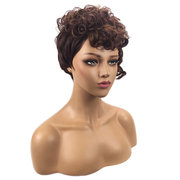 Synthetic Wigs For Women African Black Short Small Curly Artificial Hair Wigs Heat Resistant Wig Set