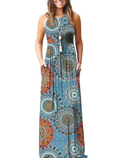 Ethnic Floral Print Halter Maxi Dress For Women