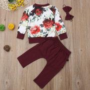 Insiemi di vestiti a manica lunga con increspature a maniche lunghe Pantaloni stampati floreali per 0-3 anni