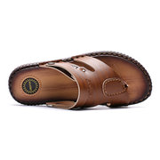 Large Size Men Leather Metal Decoration Non-slip Slippers Casual Beach Sandals