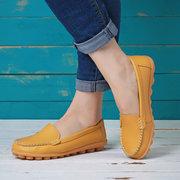Повседневный На Мягкой Подошве Сплошной Без Шнуровки Плоские Обуви