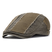 Mens Vintage Washed Pure Cotton Beret Hat Casual Adjustable Breathable Newsboy Cabbie Cap