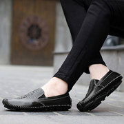 Men Crocodile Pattern Penny Loafers Stitching Soft Sole Casual Driving Shoes