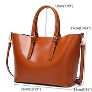 Women PU Leather Solid Handbag Portable Tote Bag