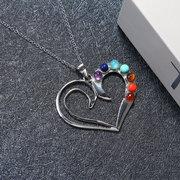 الأزياء القلب قلادة سلسلة قلادة اليوغا الريكي الشفاء النساء المجوهرات 7 لون حجر شقرا القلائد