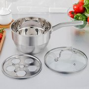 Stainless Steamer with Steam Rack Long Handle Multifunctional Cookware Pot