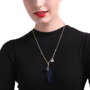 JASSY Trendy Blue Feather Gold Plated Zircon Copper Y-Necklace