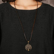 Vintage Life Tree Necklace Alloy Leaves Necklace Hallow Design Women Necklace