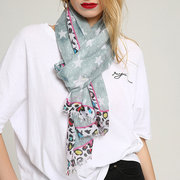 Womens Summer Chinese Printing Cotton Scarves Multi-color Beach Scarf Windproof Casual Soft Scarves