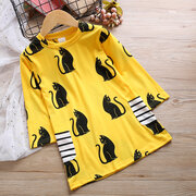 Cat Pattern Toddler Girls School Long Sleeve Casual Dress For 2Y-9Y