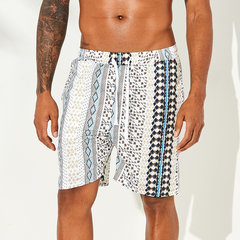 Mens Ethnic Style Printed Quick Dry Half Length Loose Casual Board Shorts