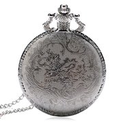 Vintage Style Silver Case Unisex Watch 3D Design Cover Pocket Watches