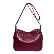 Women Double Layer Crossbody Bag Solid Stitching Shoulder Bag