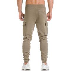 Mens Sport Pantalones Pantalones de algodón casual con cordón de cintura elástica Soild Color