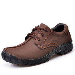 Men Outdoor Lace Up Leather Sport Casual Hiking Shoes