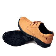 Hombres al aire libre de encaje de cuero deporte casual de senderismo zapatos