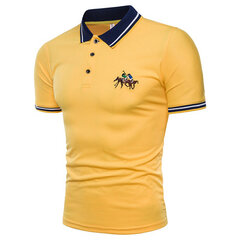 Mens Summer Embroidery Slim Fit Business Casual Golf Shirt
