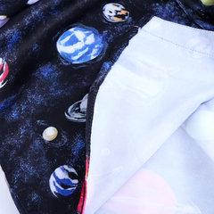 أزياء رجالي مطبوعة الكواكب نمط قصير كم قميص فضفاض عارضة