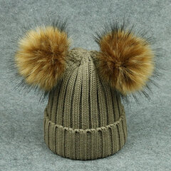 Kid Winter Beanie Hats Thicken Knitted Caps for Children with Two Pompom Fur Ball For 1Y-6Y