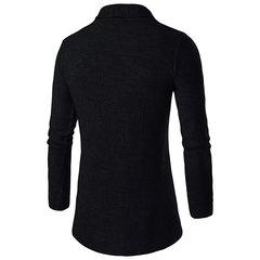 Cardigans tricotés en laine pour hommes couleur unie col Big Turndown Collar Casual Outwear