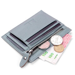Women Genuine Leather Slim Card Holder 10  Card Slots Coin Purse