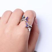 الحلو خاتم قابل للتعديل الأرجواني الزركون فراشة المرأة الدائري
