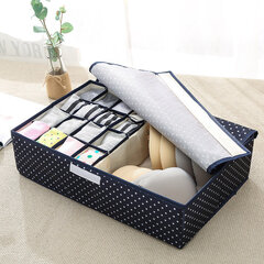 2 in 1 Foldable Underwear Socks Storage Box Waterproof Oxford 17 Grid Drawer Organiser