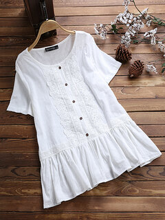 Lace Short Sleeve Crew Neck Button Casual Blouse