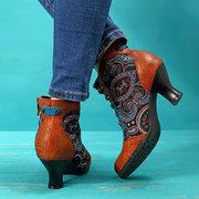 SOCOFY Bottines zippées rétro en cuir véritable à couture à lacets