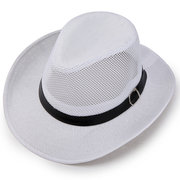 Mens Summer Breathable Mesh Panama Hats Hollow Out Flax Straw Hat Outdoor Beach Sun Hat