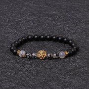 Vintage Beaded Bracelets Agate Beads Alloy Lion Head Cuff Bracelets Ethnic Jewelry for Men