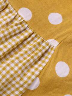 Patchwork Polka Dot Plaid Print Plus Größe Maxi Kleid