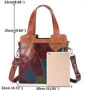 Women Patchwork Genuine Leather Tote Bags Large Capacity Handbags Bohemian Vintage Crossbody Bags