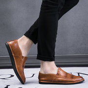 Men Vintage Low Top Slip Ons Casual Leather Loafers