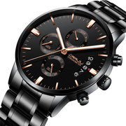 Business Style Quartz Watches Chronograph Men Wrist Watch Full Steel Watch