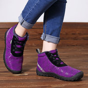 Women Casual Shoes Outdoor Warm Vein Splicing Lace Up Boots