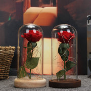 Decoraciones navideñas belleza Enchanted Preserved Red Fresh Rose Glass Cover + LED Light