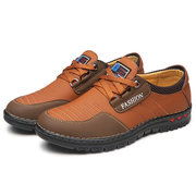 Men Microfiber Leather Slip Resistant Lace Up Casual Shoes