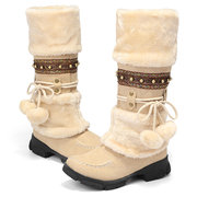 LOSTISY Large Size Rhinestone Slip On Mid Calf Warm Knight Boots