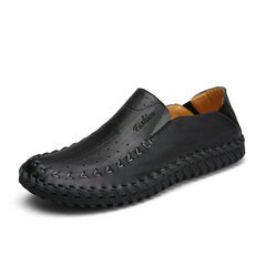 Men Hole Breathable Hand Stitching Soft Flat Slip On Casual Leather Loafers