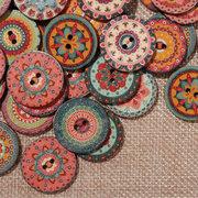 100 Pcs Mix Botões De Madeira Boêmio Indiano Colorido Lavável Rodada Botões De Costura Decorativa