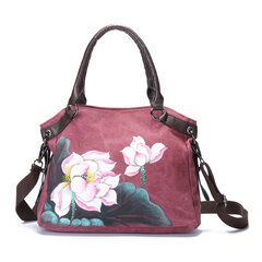 Brenice Hand Painted Lotus Handbags Vintage Chinese Style Shopping Bags